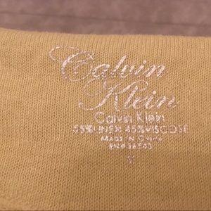 Calvin Klein Tops - Calvin Klein pale yellow 3/4 sleeve sheer shirt